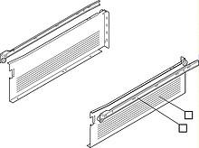 Szuflada METABOX 320H firmy Blum. Bok H=150mm, Dł.45cm, 25kg, Wysuw Częściowy, Szara Komplet Metabox 320K zawiera prowadnice korpusu prawą i lewą oraz...