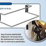 Stojak na obuwie 480-830 metal/tworzywo chrom/czarny Do zastosowania wewnątrz lub na zewnątrz garderoby. Wyrób może uzupełniać wyposażenie szafy...