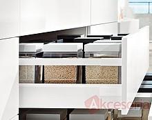 Zestaw elementów do wykonania szuflady Tandembox ANTARO z hamulcem bok M plus 1 reling kwadratowy wysokość 199mm (zabudowa 228mm) kolor JEDWABIŚCIE-BIAŁY...