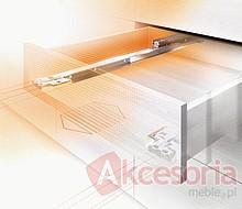 Kryta prowadnica wałkowa MOVENTO 760H firmy Blum do szuflad drewnianych. Posiada zintegrowaną funkcję TIP-ON (Otwieranie bez uchwytów, przez...