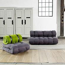 Oryginalny fotel złożony z dwóch materaców futonowych. Po częściowym rozłożeniu uzyskujemy materac z zagłówkiem, natomiast po...
